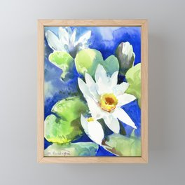 White water Lily flowers, Lotus flowers, White Blue Framed Mini Art Print