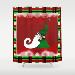 Jingle Gnome in Green Shower Curtain