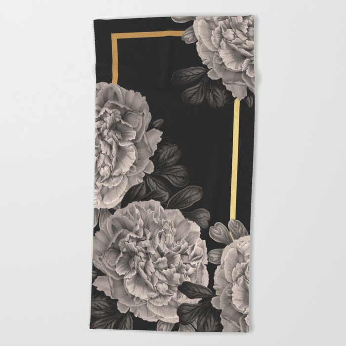 Flowers on a winter night Beach Towel