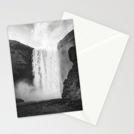 Skógafoss Waterfall, Iceland - Minimalist Black and White Photo Stationery Cards