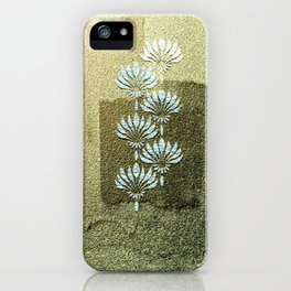 Melded Gold, geometric art-deco, with white flowers pattern, iPhone Case