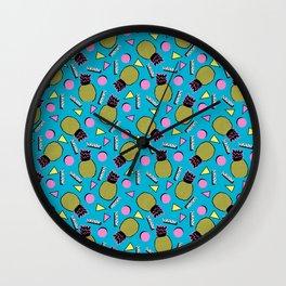 Primo - memphis retro throwback 1980s 80s neon style pop art wacka designs pineapple tropical fruit Wall Clock