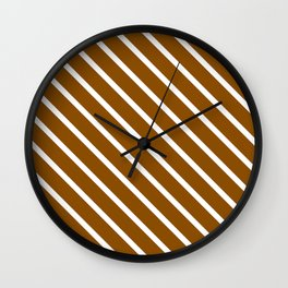 Pumpkin Pie Diagonal Stripes Wall Clock