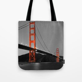 Golden Gate Bridge in Selective Black and White Tote Bag