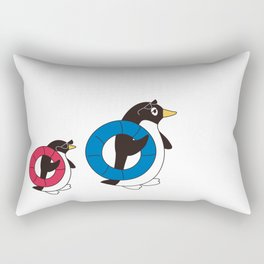 Parent-child penguin walking with the float Rectangular Pillow