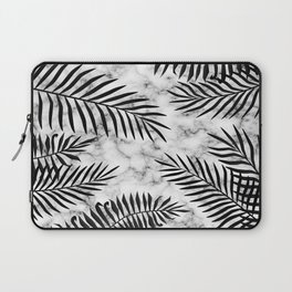 Black palm leaves on marble Laptop Sleeve