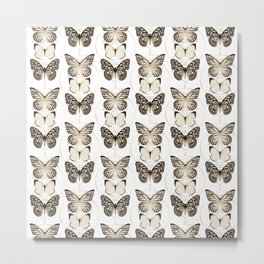 butterflies and gold geometry Metal Print