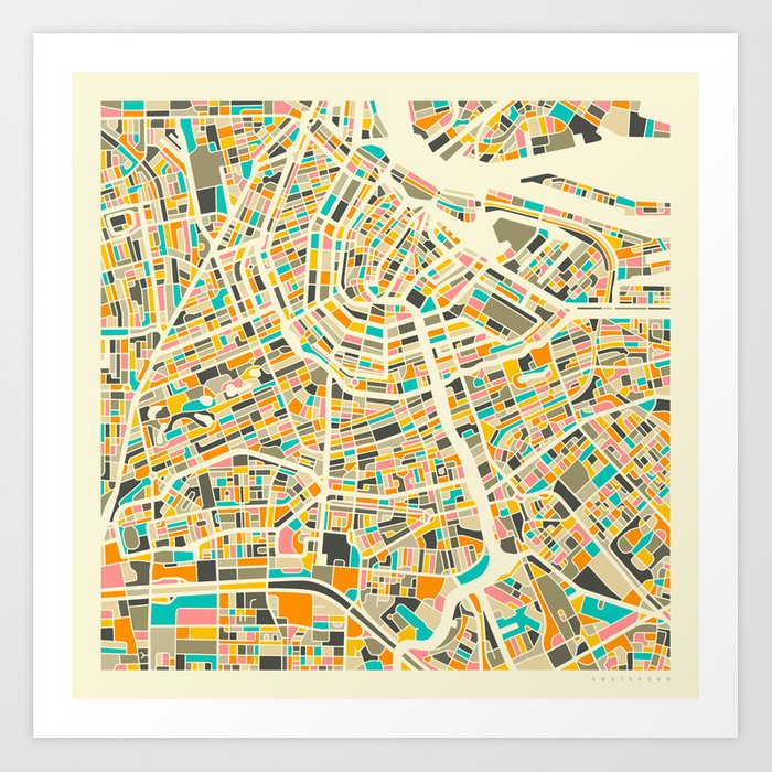graphic relating to Printable Map of Amsterdam named Amsterdam Map Artwork Print via jazzberryblue