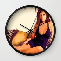 jessica lange Wall Clocks featuring Jessica by Ticopage designs