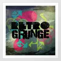 Abstract373 Retro Grunge Art Print