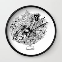 harry potter Wall Clocks featuring Harry Potter by Grace Fernandes