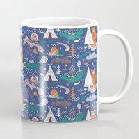 camp Mugs featuring Bear camp by Demi Goutte