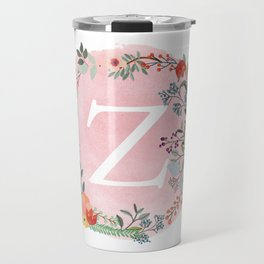 Flower Wreath with Personalized Monogram Initial Letter Z on Pink Watercolor Paper Texture Artwork Travel Mug