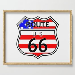 Route 66 Highway Sign With Flag Serving Tray