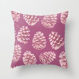 Blushing Deep Pine Cones Throw Pillow