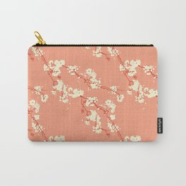 Cherry Blossoms in Coral Carry-All Pouch