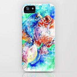 Underwater Scene Artwork, Discus Fish, Turquoise blue pink aquatic design iPhone Case
