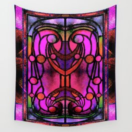 Pink and Purple Stained Glass Victorian Design Wall Tapestry
