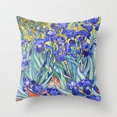 Vincent Van Gogh Irises Throw Pillow