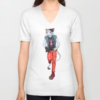 misfits V-neck T-shirts featuring Misfits punk cat  by Kami-katamari