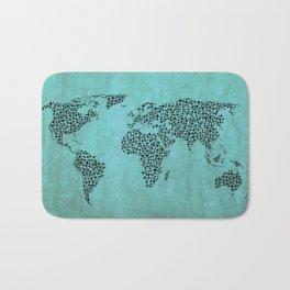 Teal Star World Map Bath Mat