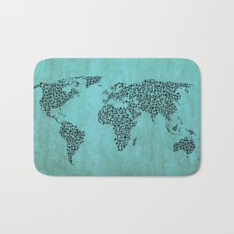 Teal Star World Map Bath Mat