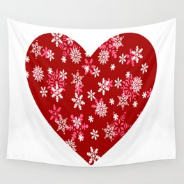 Red Heart Of Snowflakes Loving Winter and Snow Wall Tapestry