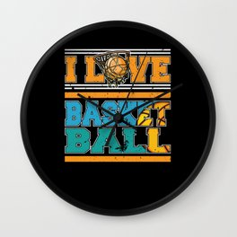 I Love Basketball Sports Player Wall Clock