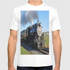 Steam Locomotive Mens Fitted Tee White SMALL