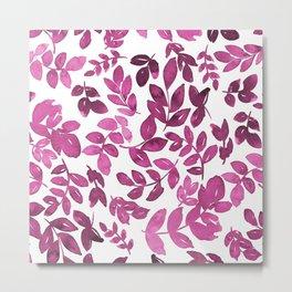 Fusia watercolour leaves pattern Metal Print