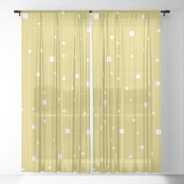 Squares and Vertical Stripes - Yellow and White - Hanging Sheer Curtain