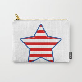 Patriotic Star Blue Border Red and White Stripes Carry-All Pouch