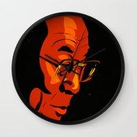 lama Wall Clocks featuring Dalai Lama  by Jake Wangner
