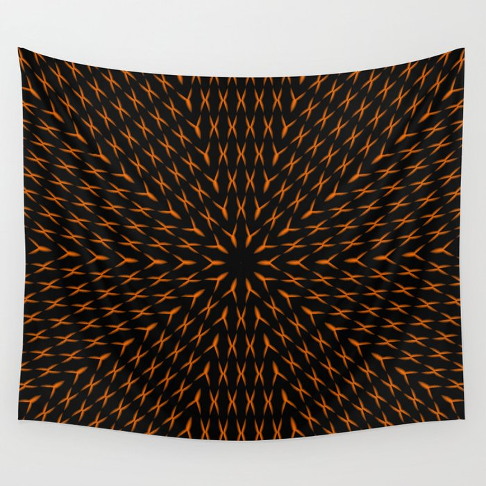 PCT2 Fractal in Orange on Black Wall Tapestry