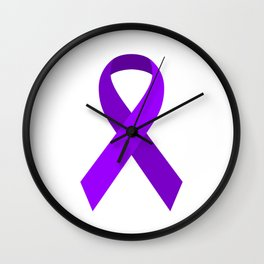 Purple Awareness Support Ribbon Wall Clock