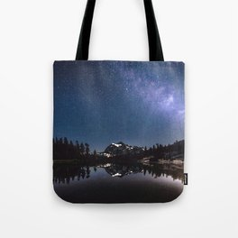 Summer Stars - Galaxy Mountain Reflection - Nature Photography Tote Bag