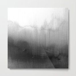 Modern Black and White Watercolor Gradient Metal Print