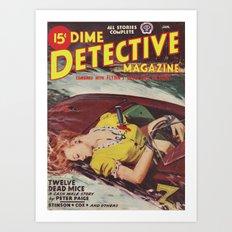 Dime Detective Magazine - January 1946 Art Print