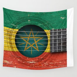 Old Vintage Acoustic Guitar with Ethiopian Flag Wall Tapestry