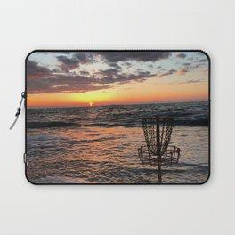 Disc Golf Basket Beach Ocean Innova Discraft Sunset Waves Virginia Vibram Laptop Sleeve