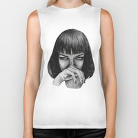 mia wallace Biker Tanks featuring Mia Wallace by Rebecca Hådell