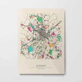 Colorful City Maps: Durham, North Carolina Metal Print