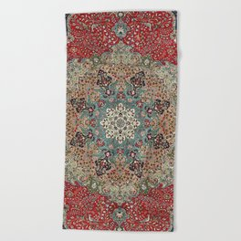 Antique Red Blue Black Persian Carpet Print Beach Towel