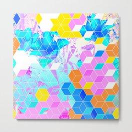 Pop Floral Cube Pattern 1 #fashion #pattern #lifestyle Metal Print