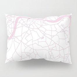 London White on Pink Street Map Pillow Sham