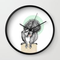 squirrel Wall Clocks featuring Squirrel by Wood + Ink