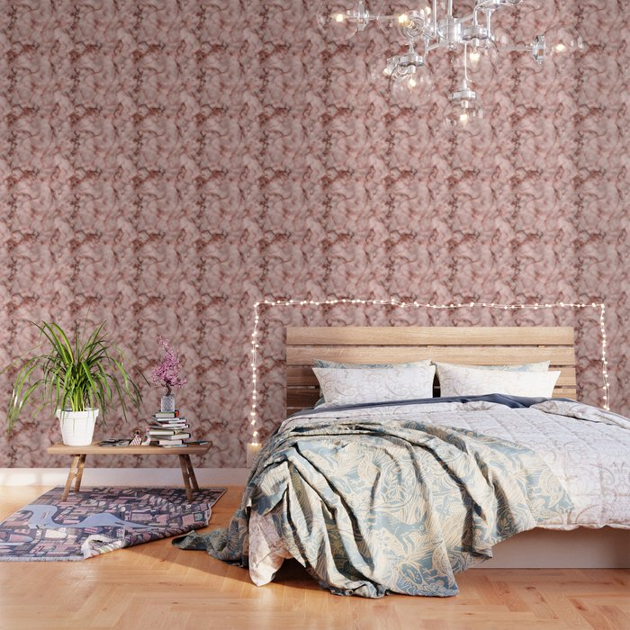 Pink and Copper Rose Veined Faux Marble Repeat Wallpaper