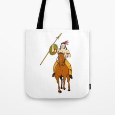 Native American Indian Brave Riding Pony Cartoon Tote Bag