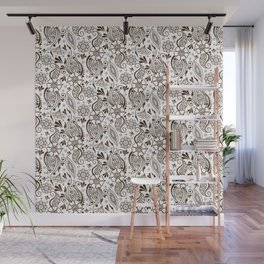 Mehndi or Henna (Brown and White) Wall Mural