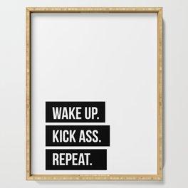 Wake up Kick ass Repeat Serving Tray